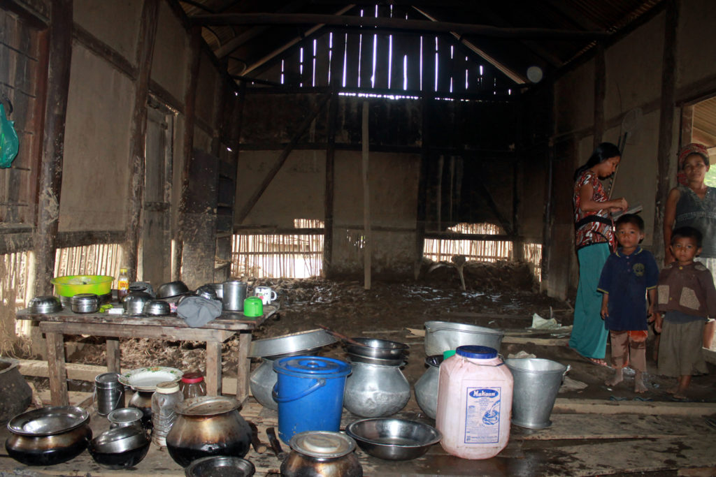 A pathetic living condition of the affected family. No proper drinking water, no medical facilities, no food
